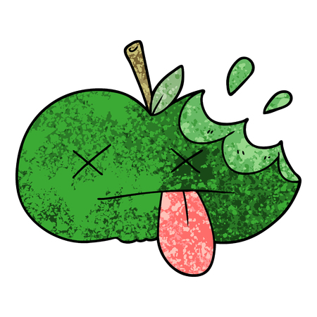 Cartoon bitten apple. Çizim