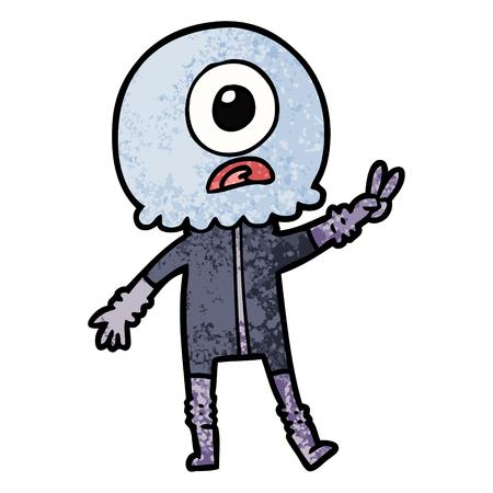 평화로운 기호를주는 만화 키 클린 외계인 우주인