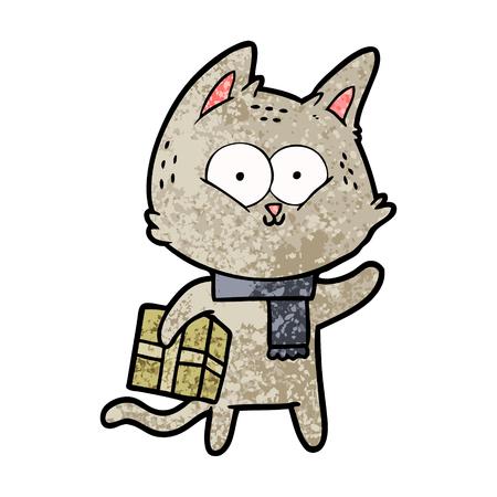 Chat de dessin animé tenant un cadeau de Noël Banque d'images - 94924511
