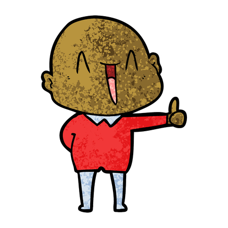 Happy cartoon bald man 版權商用圖片 - 94929194