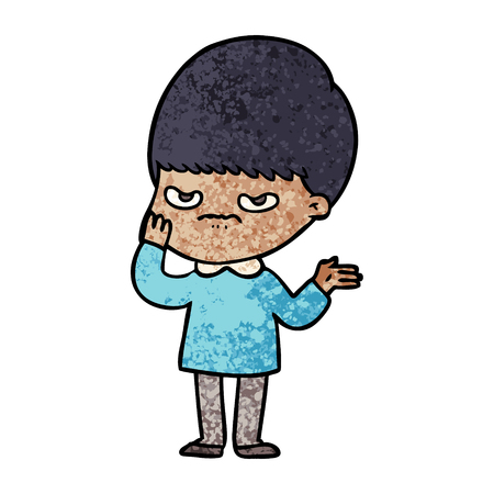 Annoyed cartoon boy.