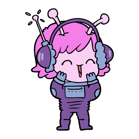 Cartoon alien girl listening to music. Illustration
