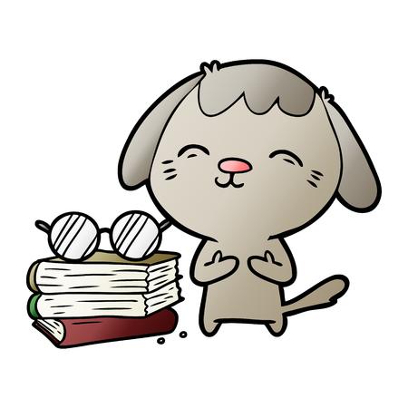 幸せな漫画犬の学者
