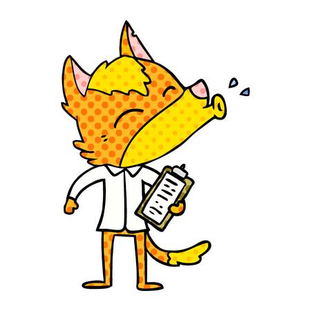 Office worker fox cartoon character