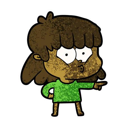 Cartoon whistling girl.