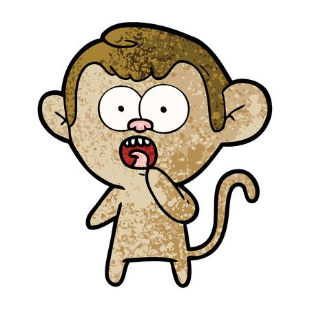 Cartoon shocked monkey. Ilustração
