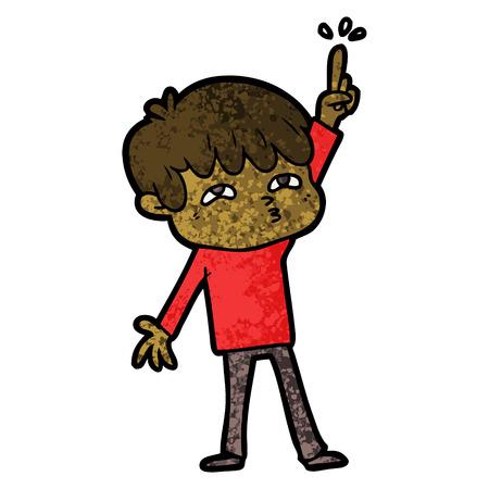 Cartoon jongen die vraag stelt Stock Illustratie