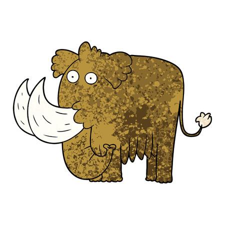 Cartoon mammoth illustration on white background. Stock Illustratie
