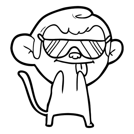 Funny cartoon monkey wearing shades