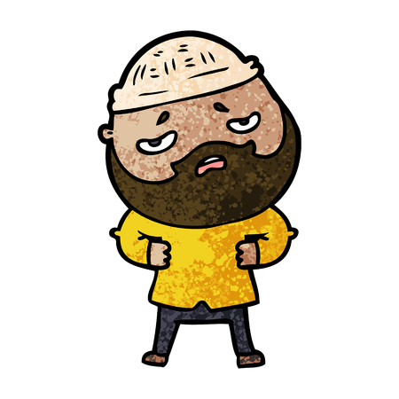 cartoon worried man with beard 版權商用圖片 - 94743034