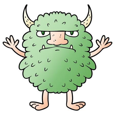 Cartoon grumpy monster Çizim