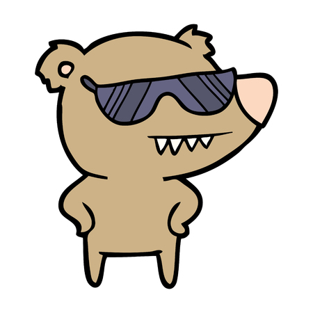 sunglasses bear cartoon with hands on hips