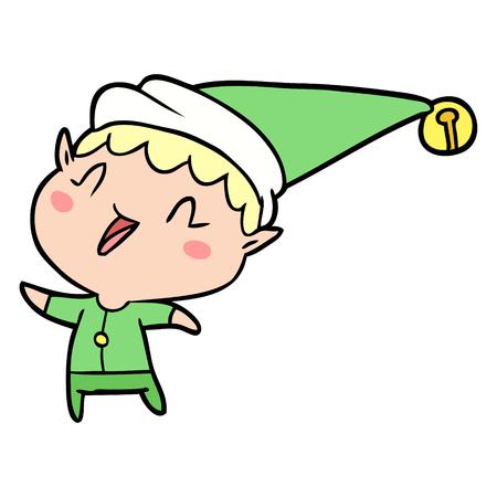 Cartoon happy Christmas elf illustration on white background. 向量圖像