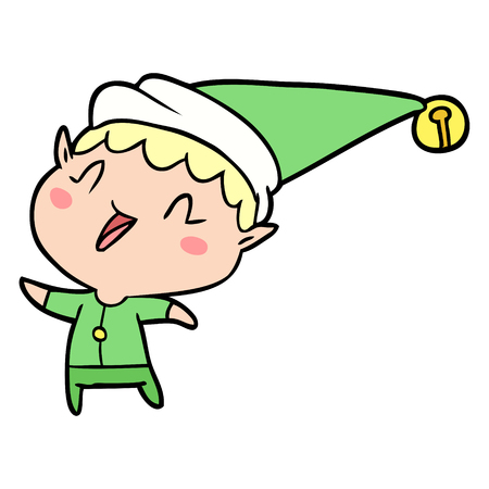 Cartoon happy Christmas elf illustration on white background. Illustration