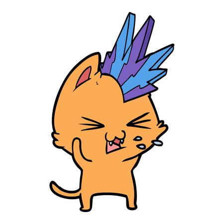 만화 펑크 록 고양이 그림 흰색 배경에 치찰음.