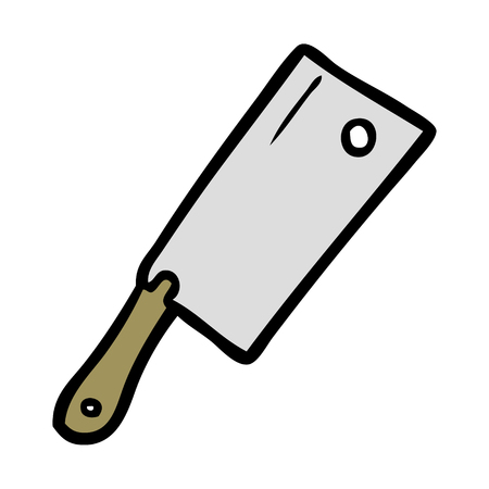 Cartoon meat cleaver illustration on white background. Illustration