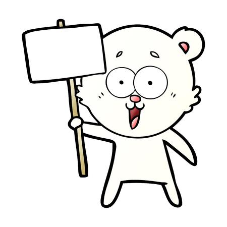 Polar bear with protest sign cartoon illustration on white background. Иллюстрация