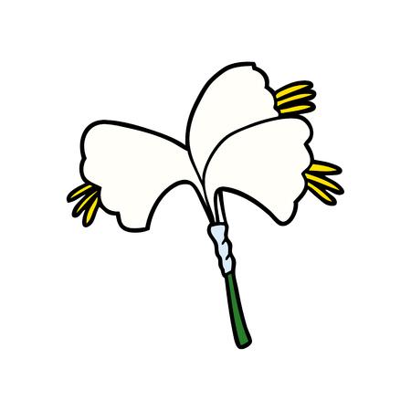 Cartoon lilies illustration on white background.