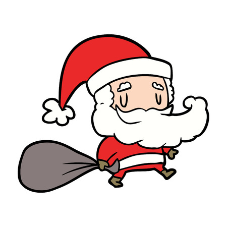 Cartoon Santa Claus carrying sack of presents illustration on white background.