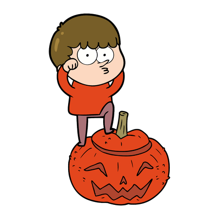 Cartoon boy climbing huge pumpkin illustration on white background. Çizim
