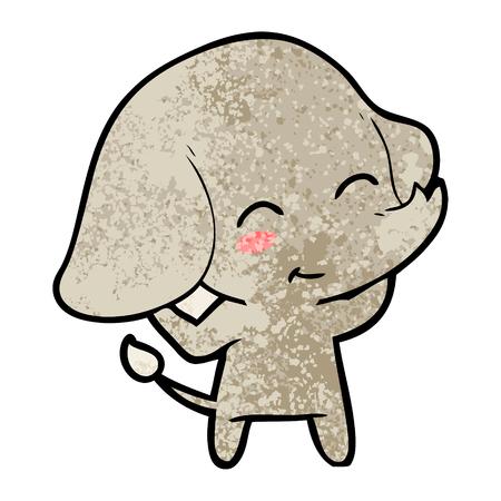 Cute cartoon elephant illustration on white background.