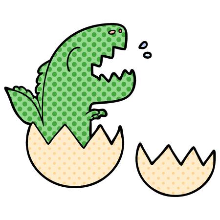 Cartoon dinosaur hatching from egg illustration on white background.