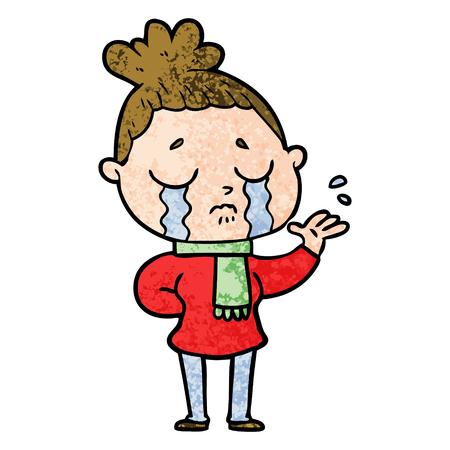 cartoon crying woman Illustration