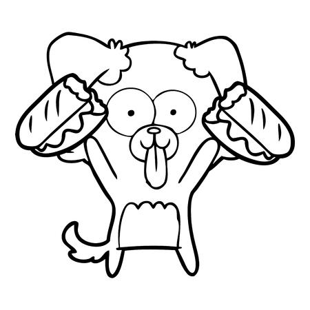 Cartoon dog with tongue sticking out and sandwich illustration on white background. Ilustracja