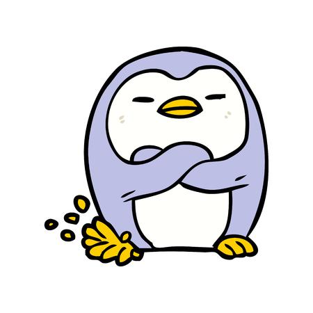 Illustrazione del piede di spillatura del pinguino del fumetto su fondo bianco. Archivio Fotografico - 94758888