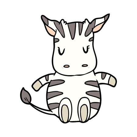 Cute cartoon zebra illustration on white background.