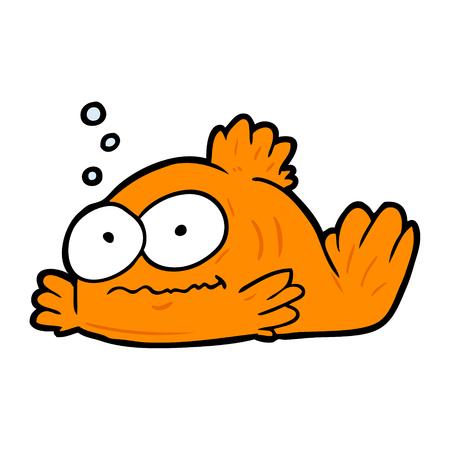 Funny cartoon goldfish illustration on white background.