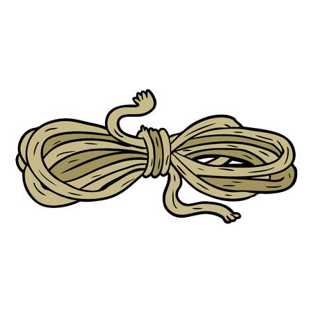 白い背景に漫画のロープのイラスト。