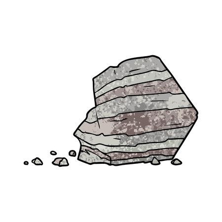 Cartoon large rock illustration on white background.