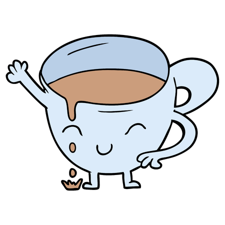 Cartoon spilled teacup illustration on white background.