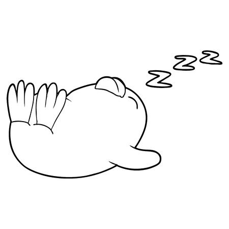 cartoon sleeping penguin Illustration