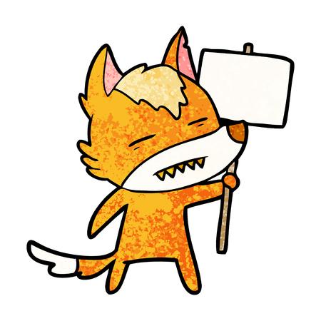 Fox cartoon character with protest sign illustration on white background. Ilustração