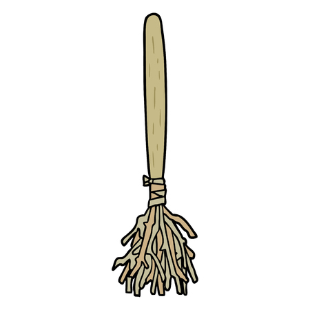 Cartoon Halloween witches broom illustration on white background.