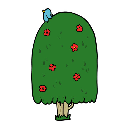 白い背景に漫画の背の高い木のイラスト。
