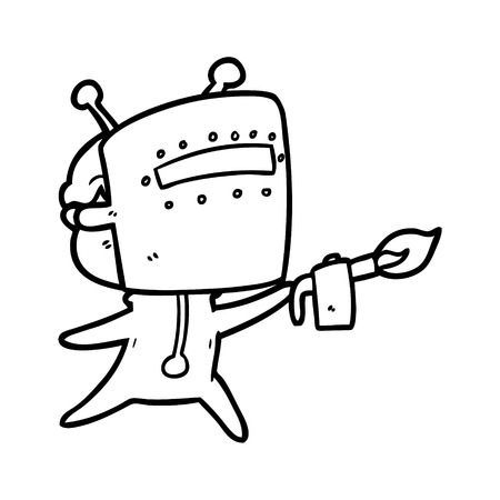 Friendly cartoon spaceman welding illustration on white background. Ilustração