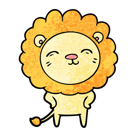 A freehand vector illustration of cartoon lion character, isolated on white