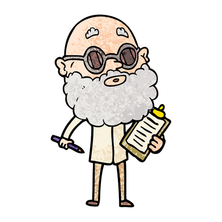 A freehand vector illustration of cartoon curious man with beard and sunglasses