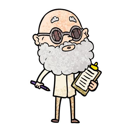 Un'illustrazione di vettore a mano libera dell'uomo curioso del fumetto con la barba e gli occhiali da sole Archivio Fotografico - 94921912