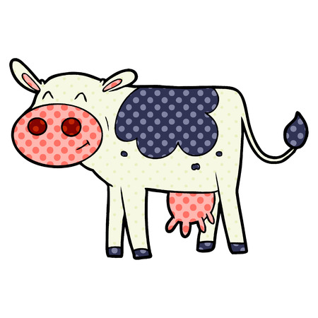 A freehand vector cartoon illustration of a cow, isolated on white Çizim