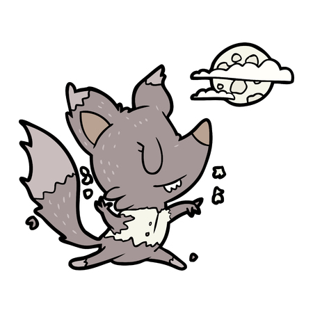 白に隔離された月明かりで変化するハロウィーンの狼のベクター漫画のイラスト  イラスト・ベクター素材