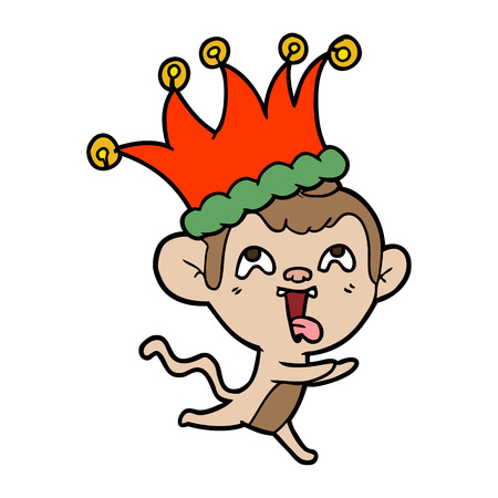 A vector cartoon illustration of a crazy monkey wearing jester hat, isolated on white