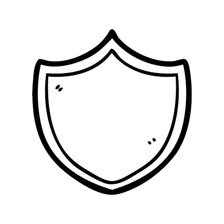 A cartoon shield vector illustration, isolated on white