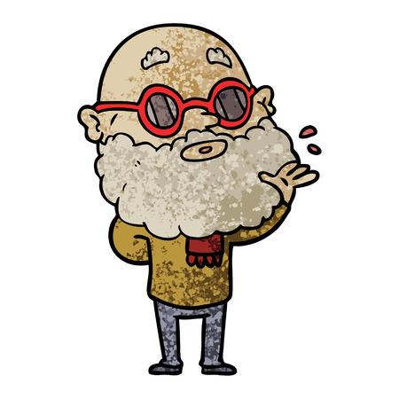 Uomo curioso dei cartoni animati con barba e occhiali da sole Archivio Fotografico - 94780834