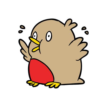 cartoon over opgewonden robin vogel Stock Illustratie
