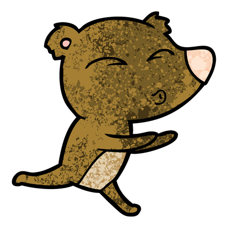 cartoon running bear 向量圖像
