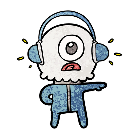 Cartoon cyclops alien spaceman listening to music